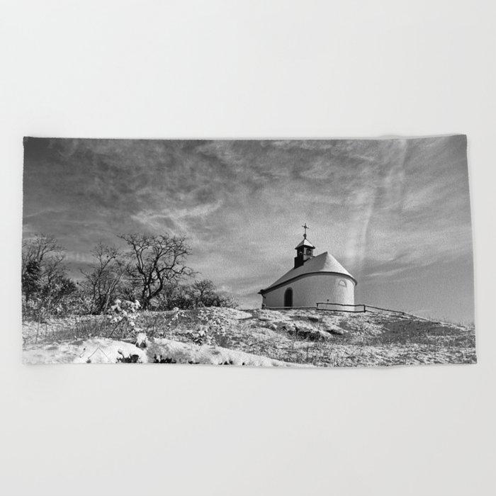 Chapel in the snow (Kleine Kalmit) Beach Towel