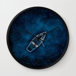 Row Boat in Space Wall Clock