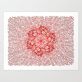 Red flower mandala Art Print