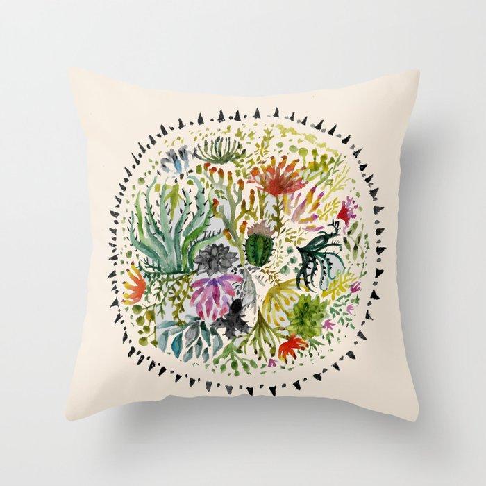 Succulents Mandala Throw Pillow
