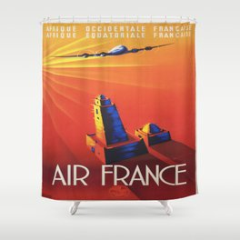 Vintage poster - Air France Shower Curtain