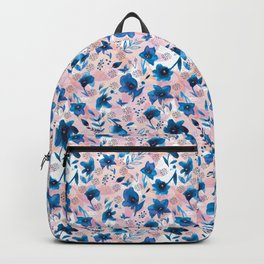 Flow pattern with hand painted watercolor flowers Backpack