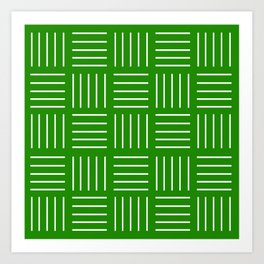 Abstract geometric pattern - green and white. Art Print
