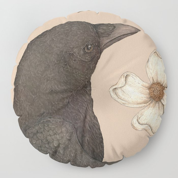 The Crow and Dogwoods Floor Pillow