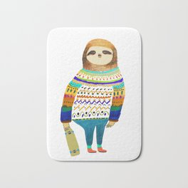 Hipster sloth skateboarder Bath Mat