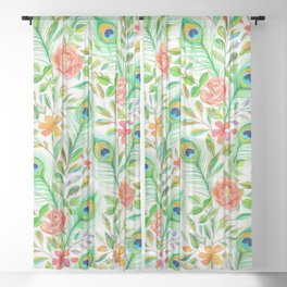 Peacock Feather Posies on white Sheer Curtain