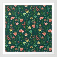 floral pattern Art Prints featuring Floral pattern by Julia Badeeva