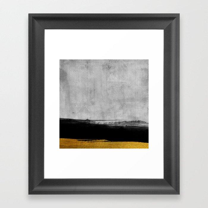 Black and Gold grunge stripes on modern grey concrete abstract backround I - Stripe - Striped Gerahmter Kunstdruck