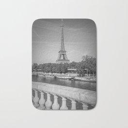 PARIS Eiffel Tower & River Seine | Monochrome Bath Mat