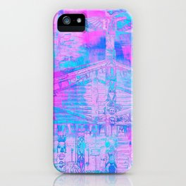 Totem Cabin Abstract - Hot Pink & Turquoise iPhone Case