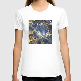 Ornate, Classic Gold and Sapphire Marble T-shirt
