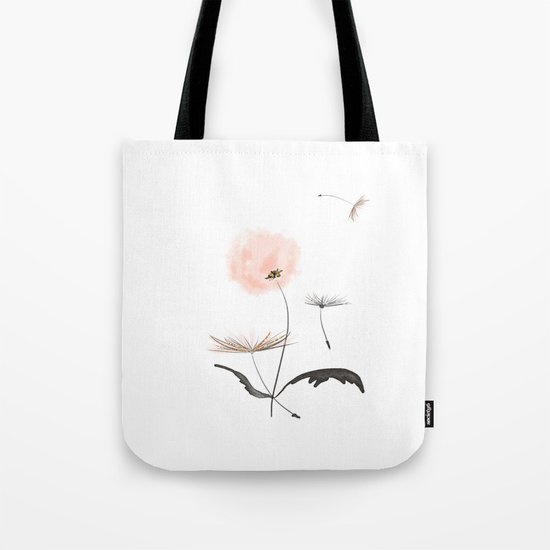 Sweet dandelions in pink - Flower watercolor illustration with glitter Tote Bag