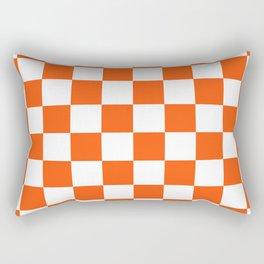 Cheerful Orange Checkerboard Rectangular Pillow