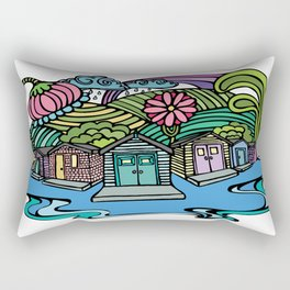 Island Beach Cottage Row Rectangular Pillow