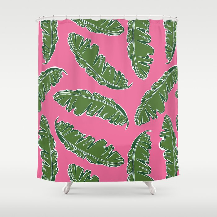 Nouveau Banana Leaf In Electric Pink Lipstick Shower Curtain
