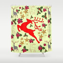 DECORATIVE LEAPING RED DEER  & HOLY BERRIES CHRISTMAS  ART Shower Curtain
