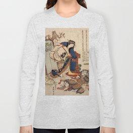 The Strong Oi Pouring Sake by Katsushika Hokusai Long Sleeve T-shirt
