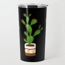 Flowering Cactus on Black Background Travel Mug