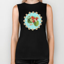 Botanical Strawberries Biker Tank