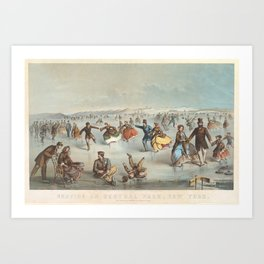 Vintage Central Park Ice Skating Painting (1861) Art Print