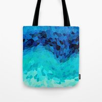 green Tote Bags featuring INVITE TO BLUE by Catspaws