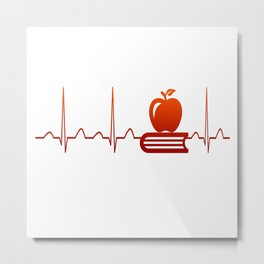 TEACHER HEARTBEAT Metal Print