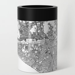 Lima White Map Can Cooler