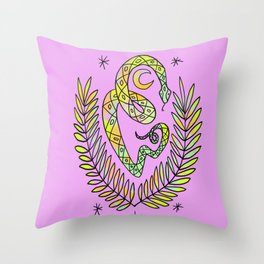 Snek and leaves Throw Pillow