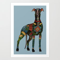 greyhound azure blue Art Print