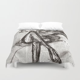 Brave - Charcoal on Newspaper Figure Drawing Duvet Cover