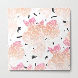 Modern pink ombre coral watercolor floral illustration pattern black brushstrokes Metal Print