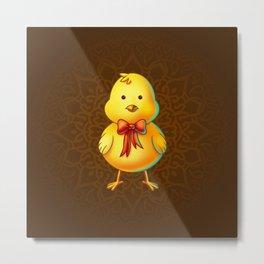 Easter Chicken Cartoon Character - Digital Painting Metal Print