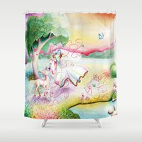 fairy tale Shower Curtains featuring Fairy Tale by Julie Edwards