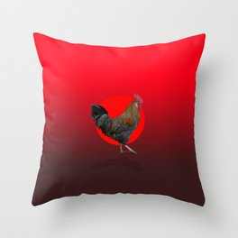 Polygonal Rooster leghorn cock on the red sun Throw Pillow