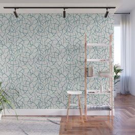 Tropical Dark Teal Abstract Crescent Moon Shape Pattern Inspired by Sherwin Williams 2020 Trending Color Oceanside SW6496 on Off White Wall Mural