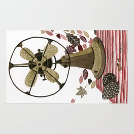 Still life with vintage fan and autumn leaves Rug