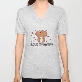 I Love My Hammy - Cuddly Hamster Mom Unisex V-Neck