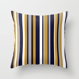 Modern Stripes in Mustard Yellow, Navy Blue, Gray, and White. Minimalist Color Block Throw Pillow
