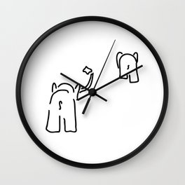 pair of elephants say goodbye Wall Clock