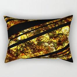 Gold Bars - Abstract, black and gold metallic, textured diagonal stripes pattern Rectangular Pillow