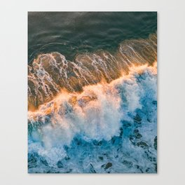 Sunset wave crashing Canvas Print