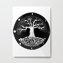 black and white tree of life with moon phases and celtic trinity knot Metal Print