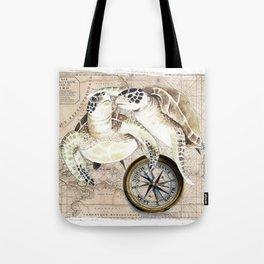 Sea Turtles Compass Map Tote Bag