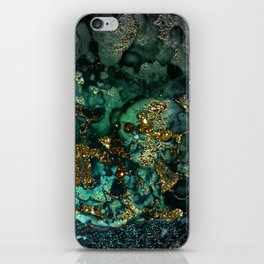Gold Indigo Malachite Marble iPhone Skin