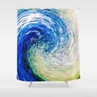 van gogh Shower Curtains featuring Wave to Van Gogh by Fringeman