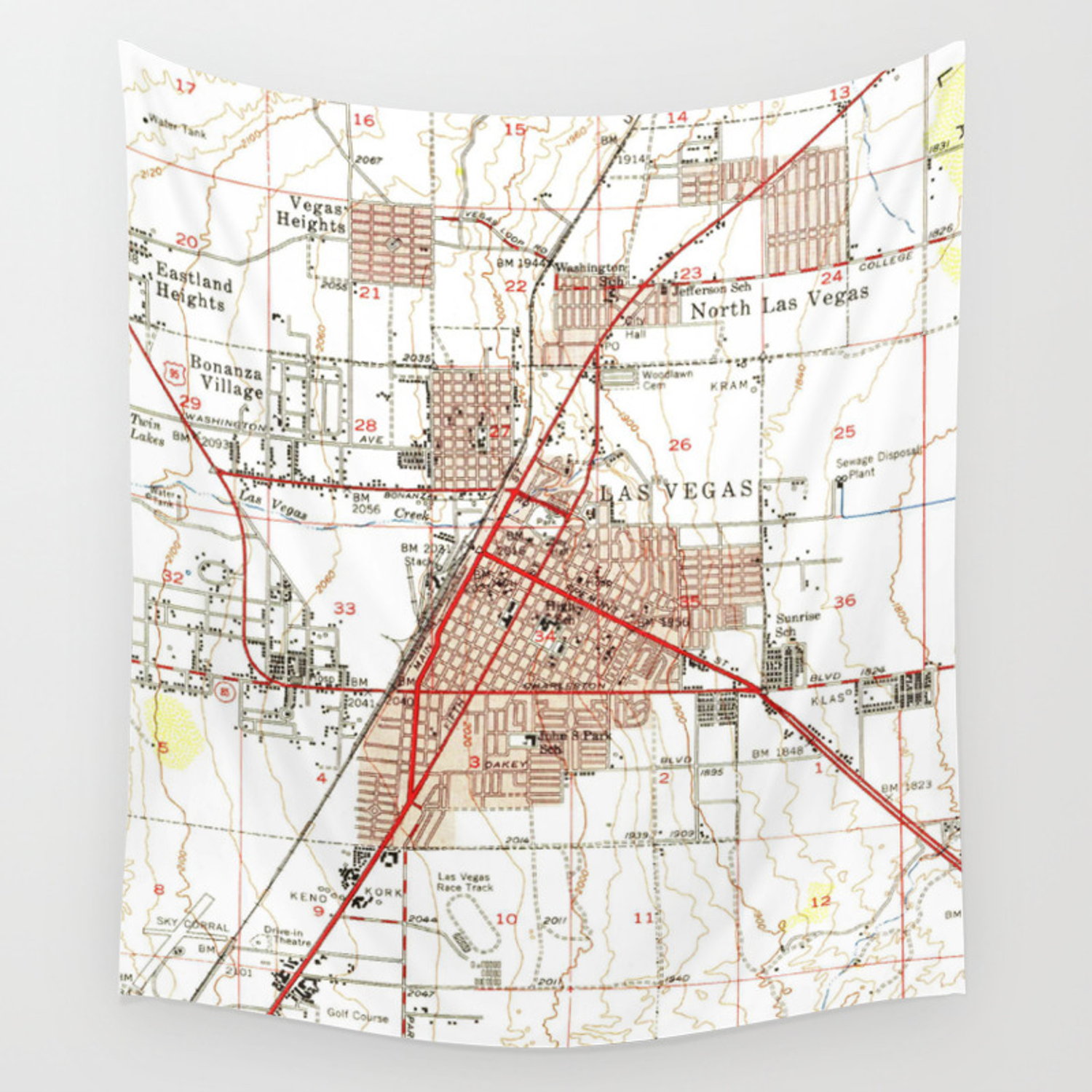 Vintage Map of Las Vegas Nevada (1952) Wall Tapestry