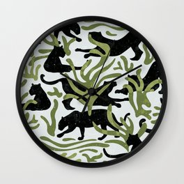 Abstract Wild Cats and Plants / Black and Green Wall Clock