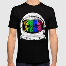 Astronaut Pug Mens Fitted Tee X-LARGE Black