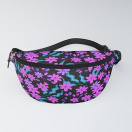 Beautiful girly pink flowers, delicate dark leaves floral fabric black pattern. Fantasy garden Fanny Pack