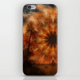 Surreal landscape in corrugated iron mandala iPhone Skin